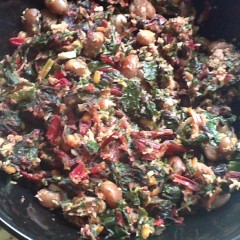Rhubarb chard and black eyed beans
